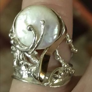 Sterling Silver/Gold/Pearl Ring
